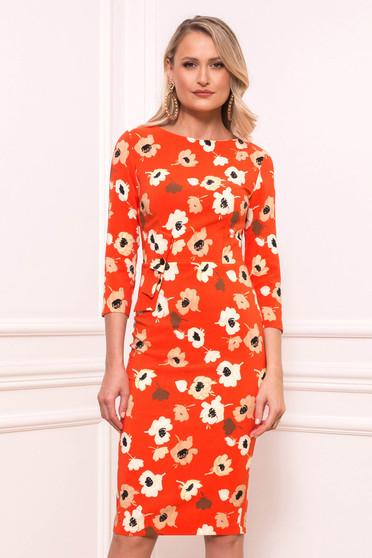 Narancssárga elegáns midi virágmintás ruha scuba anyagból pólónyakkal háromnegyedes ujjakkal