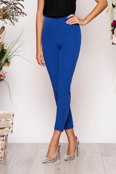 Kék StarShinerS elegáns irodai nadrág magas derekú enyhén rugalmas anyagból zsebes