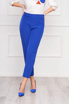 Kék StarShinerS irodai kónikus zsebes magas derekú nadrág enyhén rugalmas anyagból