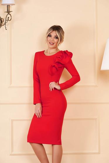StarShinerS piros szűk szabású ruha enyhén rugalmas szövetből fodros ujjakkal