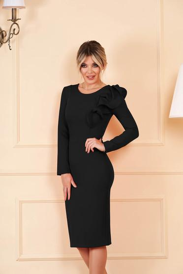 StarShinerS fekete szűk szabású ruha enyhén rugalmas szövetből fodros ujjakkal