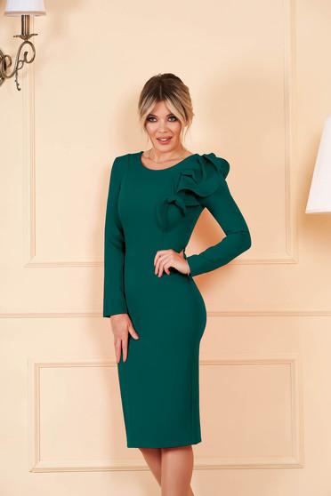 StarShinerS petrol zöld szűk szabású ruha enyhén rugalmas szövetből fodros ujjakkal