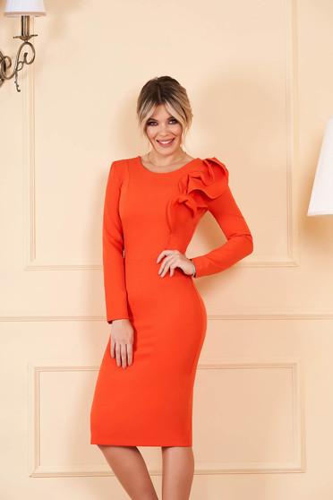 StarShinerS narancssárga szűk szabású ruha enyhén rugalmas szövetből fodros ujjakkal