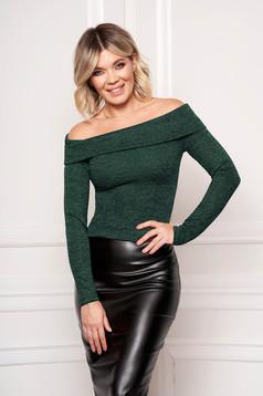 Zöld StarShinerS elegáns rövid szűk szabású pulóver hosszú ujjakkal kötött anyagból