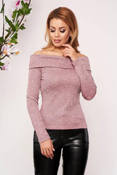 Világos rózsaszínű StarShinerS elegáns rövid szűk szabású pulóver hosszú ujjakkal kötött anyagból