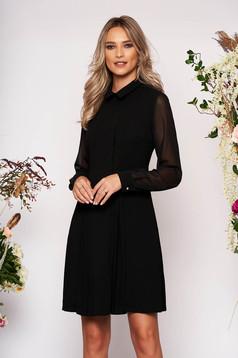Fekete alkalmi a-vonalú midi galléros zsebes ruha szövetből átlátszó hosszú ujjakkal