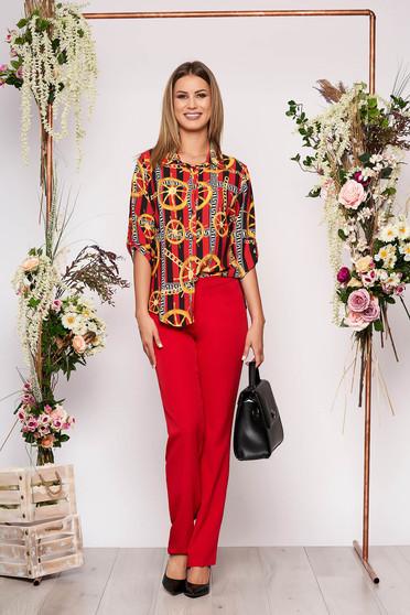 Piros elegáns pamutból készült két részes női kosztüm nadrággal grafikai díszítéssel