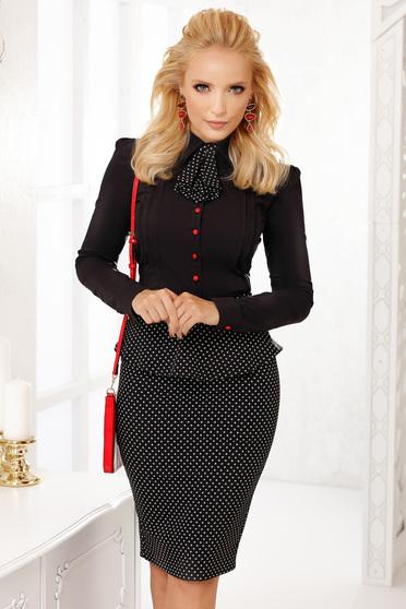 Fekete elegáns pamutból készült szűk szabású rövid női ing nyakkendő tartozékkal