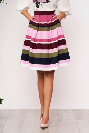 Pink StarShinerS csíkos elegáns rövid zsebes harang szoknya rugalmas anyagból bélés nélkül