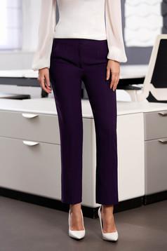 Sötétlila irodai egyenes szabású zsebes nadrág enyhén rugalmas szövetből
