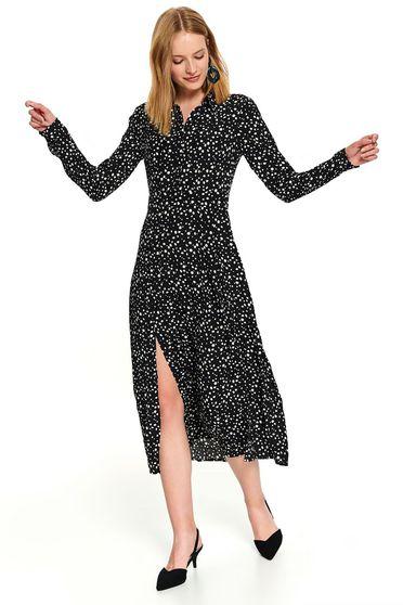 Fekete pöttyös casual hétköznapi midi harang ruha hosszú ujjakkal