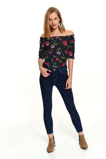 Fekete casual rövid pamutból készült virágmintás rövid ujjú női blúz