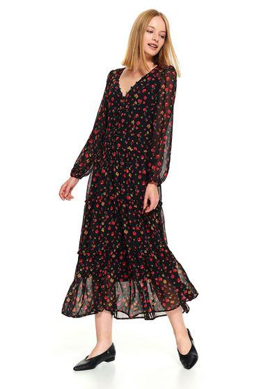 Fekete casual midi harang virágmintás ruha v-dekoltázzsal muszlinból