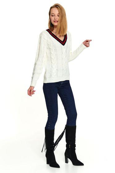 Fehér casual kötött pulóver v-dekoltázzsal hosszú ujjakkal