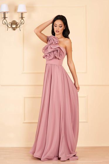 Világos lila Ana Radu luxus egy vállas fodros ruha muszlinból béléssel övvel ellátva