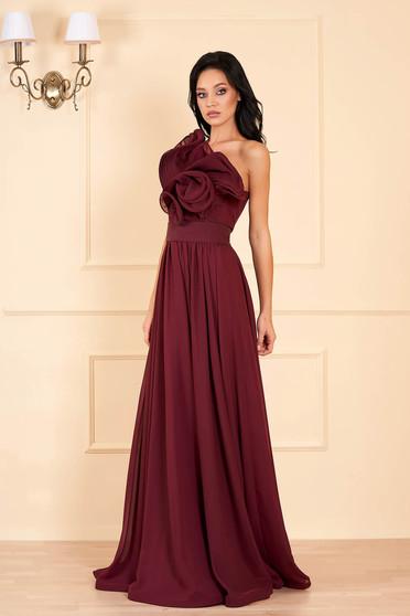 Burgundy Ana Radu luxus egy vállas fodros ruha muszlinból béléssel övvel ellátva