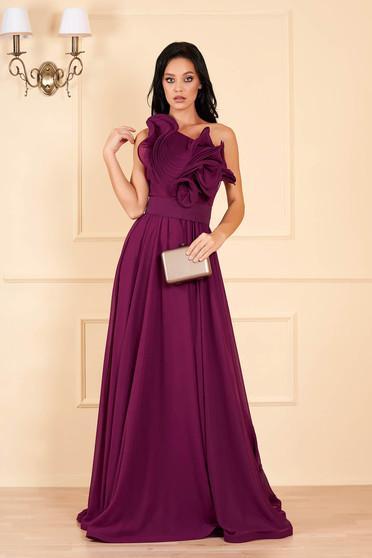 Málnapiros Ana Radu luxus egy vállas fodros ruha muszlinból béléssel övvel ellátva
