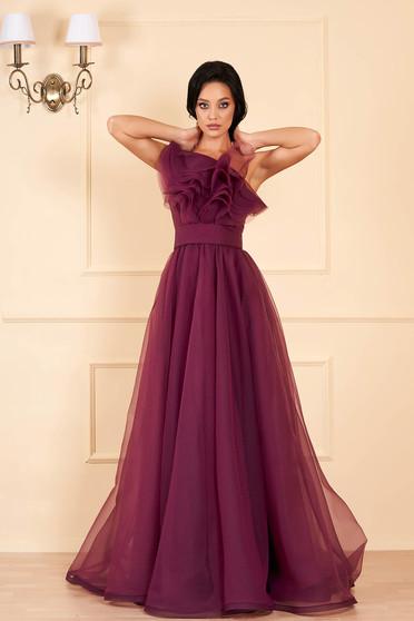 Sötétlila Ana Radu luxus fodros egy vállas ruha tüllből béléssel