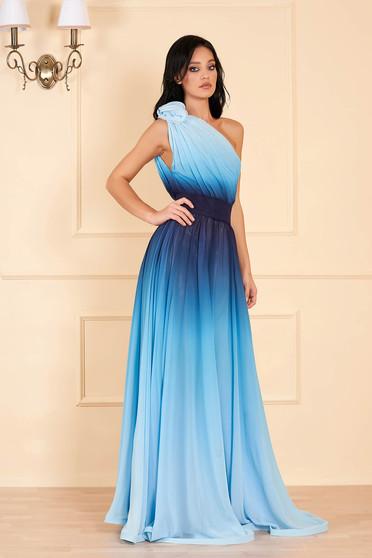 Világoskék Ana Radu luxus hosszú degradé egy vállas ruha eltávolítható övvel szellős anyagból