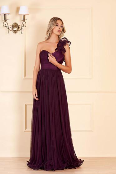 Sötétlila Ana Radu luxus hosszú mellrésznél szivacsos deréktól bővülő szabású ruha tüllből