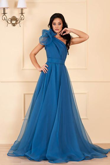 Türkizzöld Ana Radu luxus egy vállas deréktól bővülő szabású ruha béléssel övvel ellátva