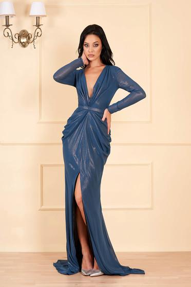 Türkizzöld Ana Radu luxus hosszú ruha mély dekoltázzsal v-dekoltázzsal hosszú ujjakkal béléssel