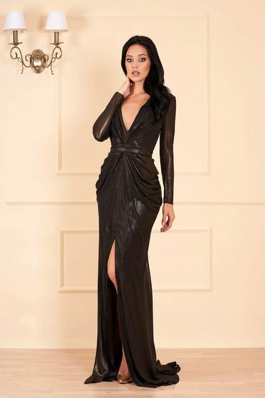 Fekete Ana Radu luxus hosszú ruha mély v-dekoltázzsal hosszú ujjakkal béléssel