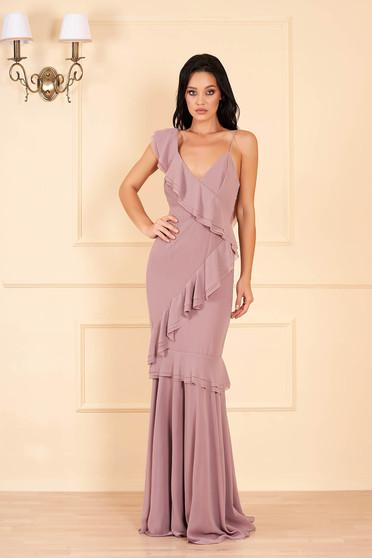 Cappuccinobarna Ana Radu luxus hosszú ruha muszlinból v-dekoltázzsal és fodrokkal a ruha teljes felületén