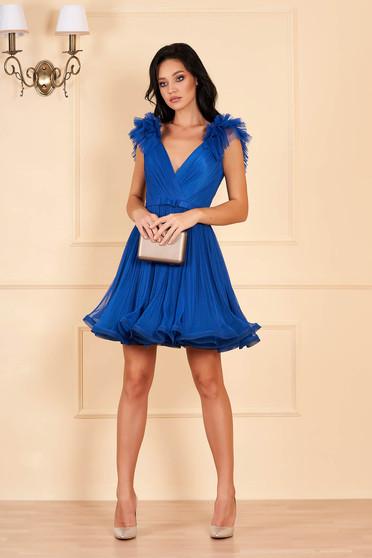 Kék Ana Radu luxus harang ruha tüllből béléssel mély dekoltázzsal
