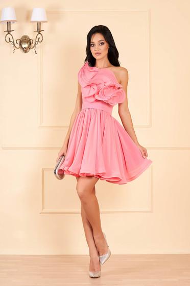 Pink Ana Radu luxus rövid fodros egy vállas harang ruha muszlinból eltávolítható övvel béléssel