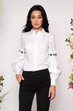 Fehér elegáns rövid bő ujjú pamutból készült galléros női ing hosszú ujjakkal