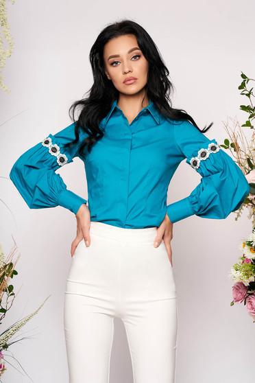 Türkizzöld elegáns rövid bő ujjú pamutból készült galléros női ing hosszú ujjakkal