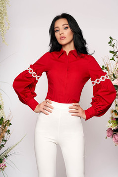 Piros elegáns rövid bő ujjú pamutból készült galléros női ing hosszú ujjakkal