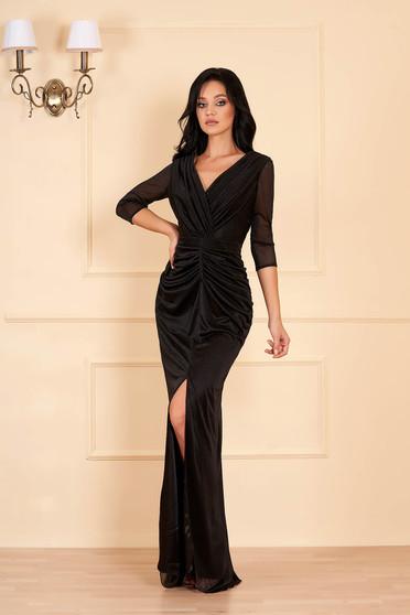 Fekete alkalmi hosszú szirén tipusú ruha csillogó díszítésekkel v-dekoltázzsal