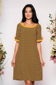 Mustársárga hétköznapi pöttyös rövid ujjú bő szabású zsebes rövid ruha bélés nélkül