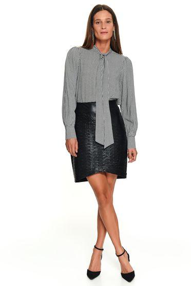 Fekete irodai rövid masnival megköthető bő szabású női ing hosszú ujjakkal