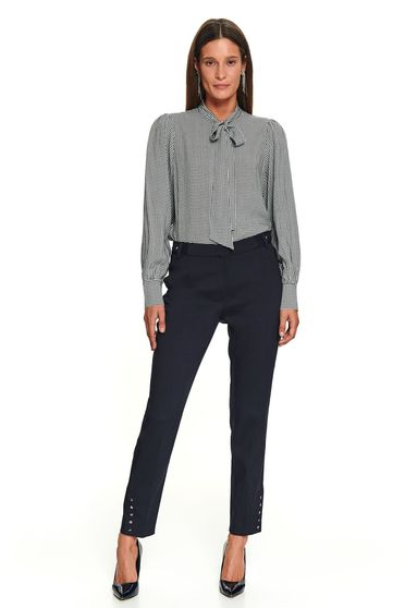 Fekete elegáns hosszú zsebes egyenes nadrág