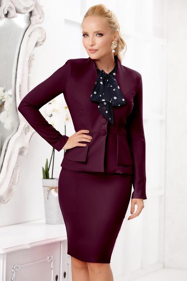 Burgundy elegáns szoknyás két részes női kosztüm szövettel enyhén rugalmas anyagból vékony anyag
