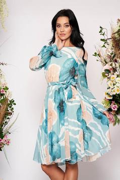 Türkizzöld elegáns virágmintás midi harang ruha muszlinból elasztikus csípővel hosszú ujjakkal