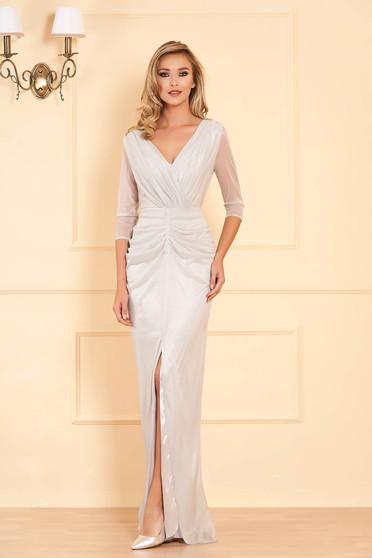 Ezüstszínű alkalmi hosszú szirén tipusú ruha csillogó díszítésekkel v-dekoltázzsal
