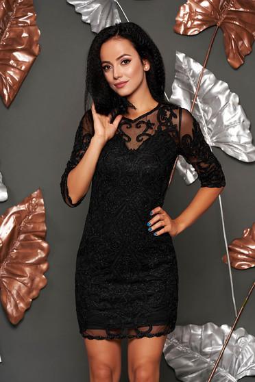Fekete alkalmi rövid ceruza ruha gyöngyös díszítés hosszú ujjakkal béléssel