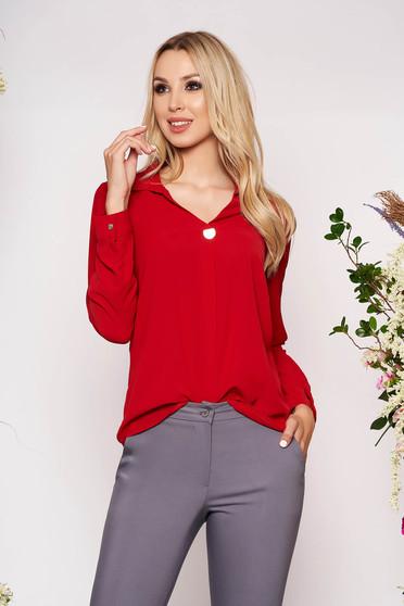 Piros elegáns rövid galléros női ing szellős anyagból hosszú ujjakkal