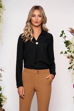 Fekete elegáns rövid galléros női ing szellős anyagból hosszú ujjakkal