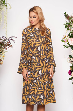 Mustársárga ruha elegáns midi a-vonalú hosszú ujjakkal bővülő ujjakkal kerekített dekoltázssal