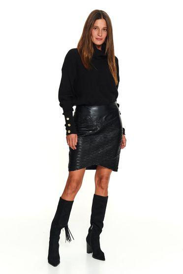 Fekete casual magas nyakú kötött rövid pulóver gomb kiegészítőkkel
