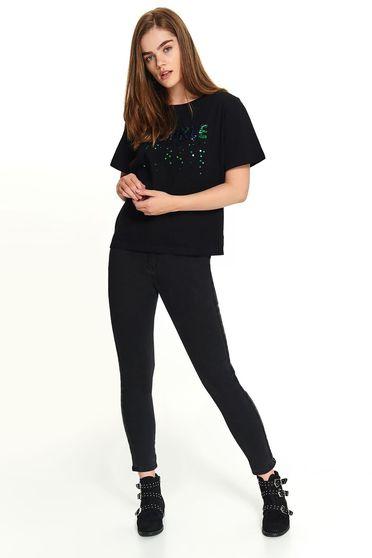 Fekete casual rövid ujjú pamutból készült rövid póló kerekített dekoltázssal