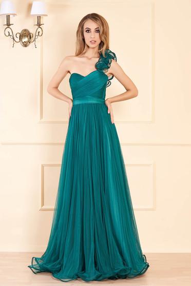 Zöld Ana Radu luxus hosszú mellrésznél szivacsos deréktól bővülő szabású ruha tüllből hátul fűzős