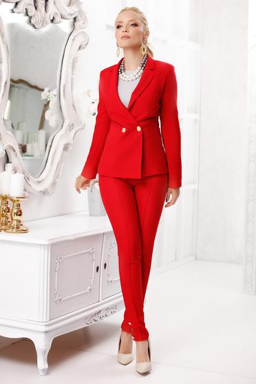 Piros elegáns hosszú kónikus zsebes nadrág gomb kiegészítőkkel szövettel vékony anyag