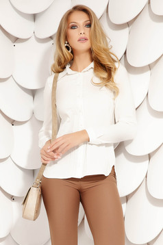 Fehér elegáns pamutból készült hátul hímzett női ing hosszú ujjakkal rugalmas anyagból