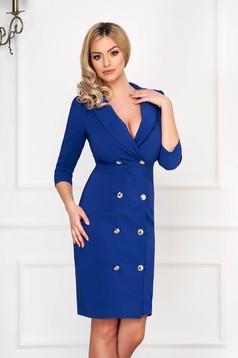 Kék elegáns zakó tipusú átlapolt ruha enyhén rugalmas szövetből gomb kiegészítőkkel